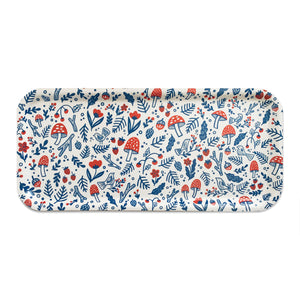 Folk Forest Blue and Red Long Tray