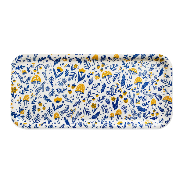 Folk Forest Blue and Yellow Long Tray