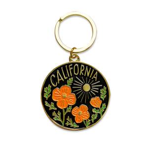 California Poppy Sun Keychain
