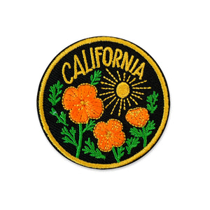 California Poppy Sun Iron-on Patch