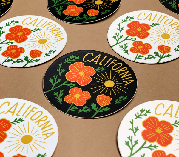 California Poppy Sun Black Sticker
