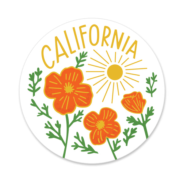 California Poppy Sun White Sticker