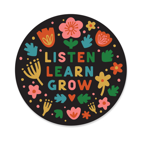 Listen Learn Grow Sticker Black