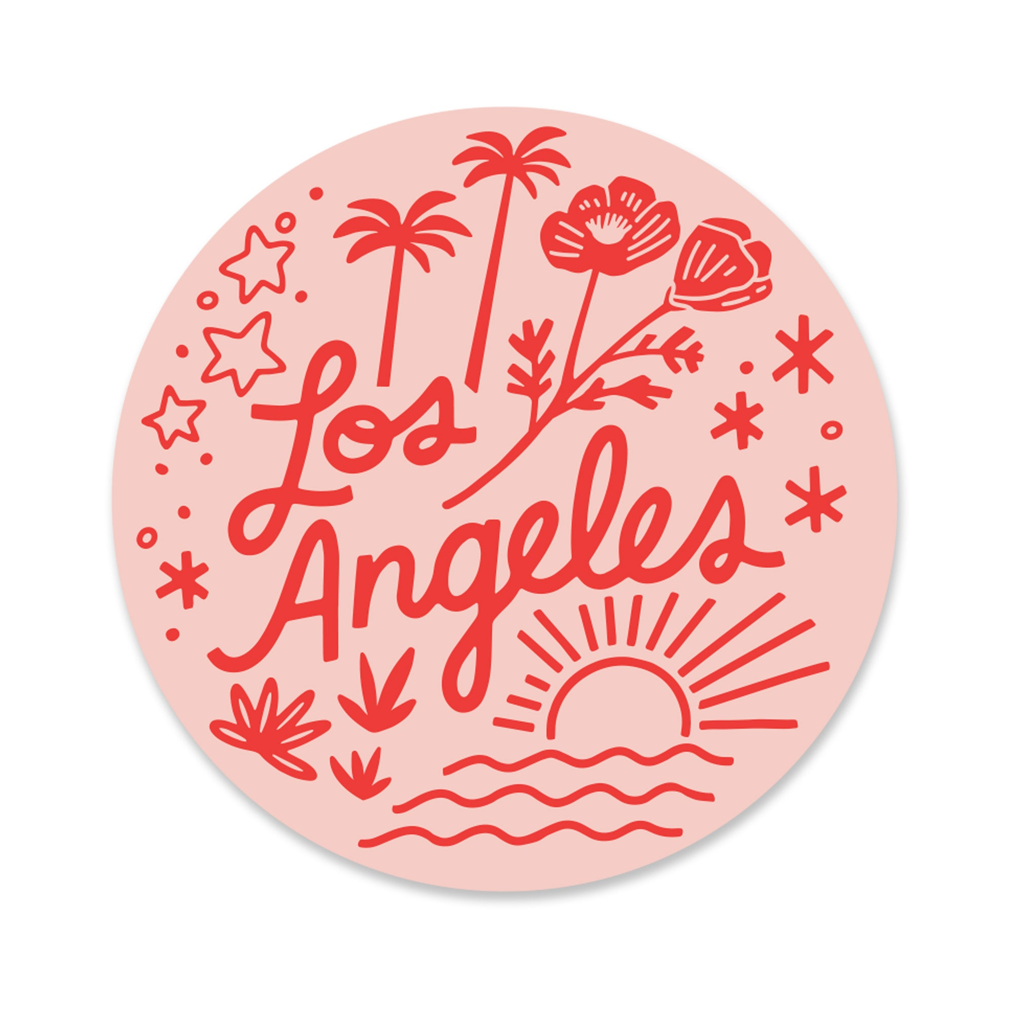 Los Angeles in Pink Sticker