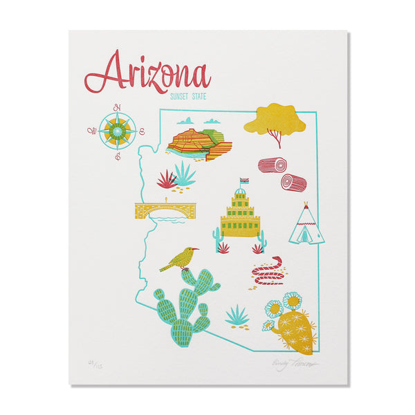 "Arizona 8""x10"" Letterpress Print"