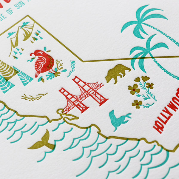 "California 8""x10"" Letterpress Print"
