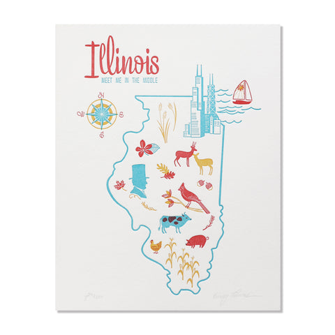 "Illinois 8""x10"" Letterpress Print"