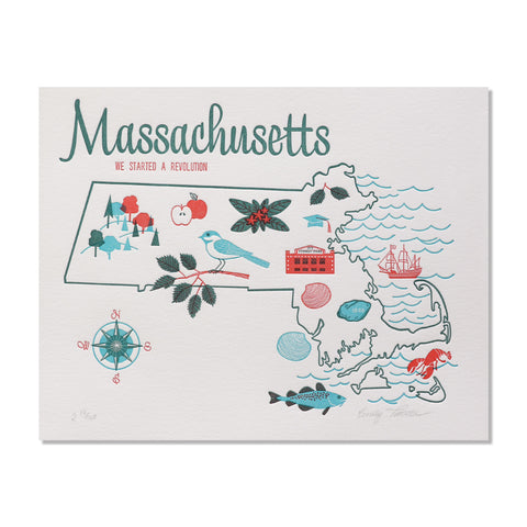 "Massachusetts 8""x10"" Letterpress Print"
