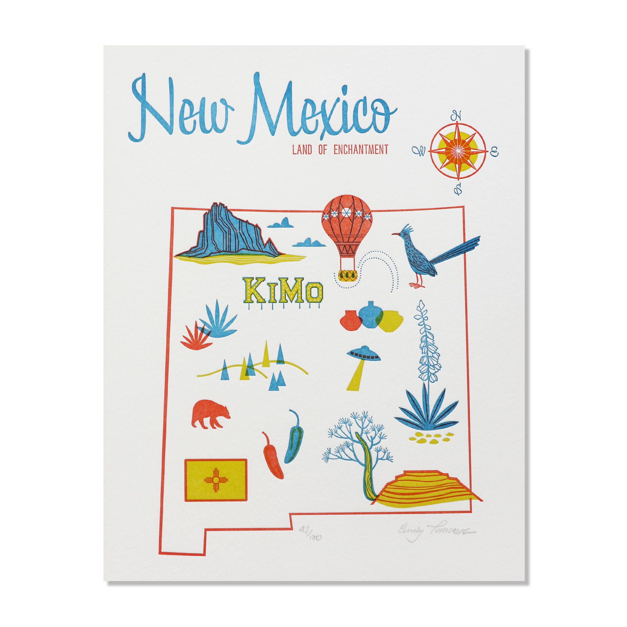 "New Mexico 8""x10"" Letterpress Print"