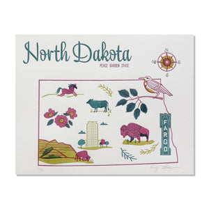 "North Dakota 8""x10"" Letterpress Print"