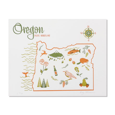 "Oregon 8""x10"" Letterpress Print"