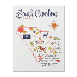 "South Carolina 8""x10"" Letterpress Print"