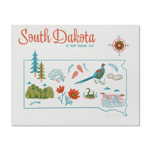 "South Dakota 8""x10"" Letterpress Print"