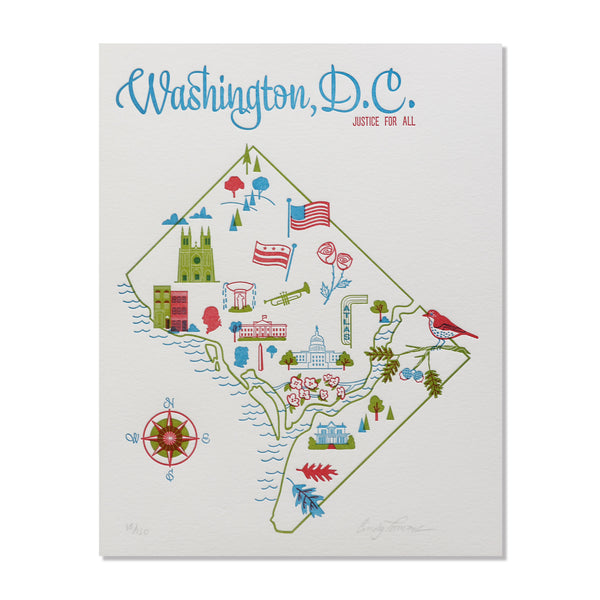 "Washington D.C. 8""x10"" Letterpress Print"