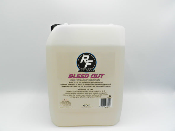bleed out iron fallout remover 5 Litre on white background