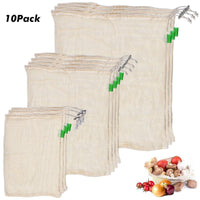 10PCS Degradable Organic Cotton Mesh Storage Bags for Kitchen - Shop to Stop Plastic
