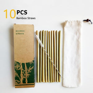 10PCS Natural Bamboo Reusable Straws - Shop to Stop Plastic