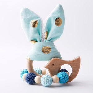 2PCS Bunny Ear Wooden Teething Bracelets for Babies - Shop to Stop Plastic