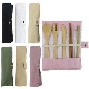 6Pcs/pack Wooden Cutlery Set Bamboo with Cloth bag - Shop to Stop Plastic