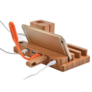 Bamboo Wood Docking Station with USB Ports - Shop to Stop Plastic