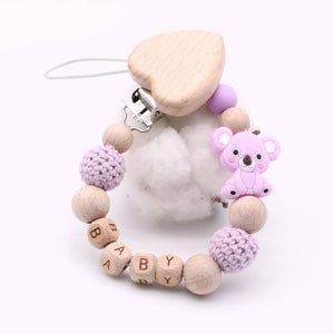 Personalised Koala Wooden Pacifier Clip for Babies - Shop to Stop Plastic