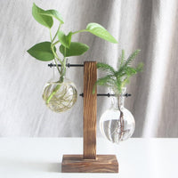 Unique Glass and Wood Flower Vase - Shop to Stop Plastic