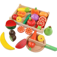 Wooden Kid's Kitchen Set of Fruits and Vegetables - Shop to Stop Plastic
