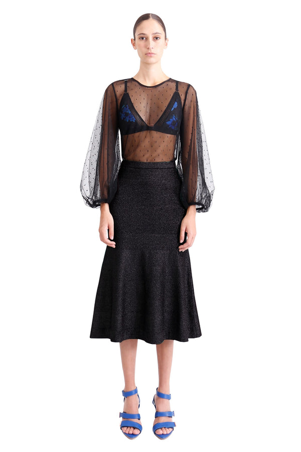 Allude Metallic Knit Skirt