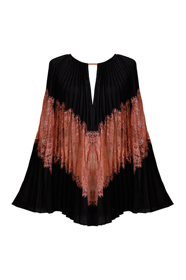Ginger and Smart amalgamate lace silk pleated blouse