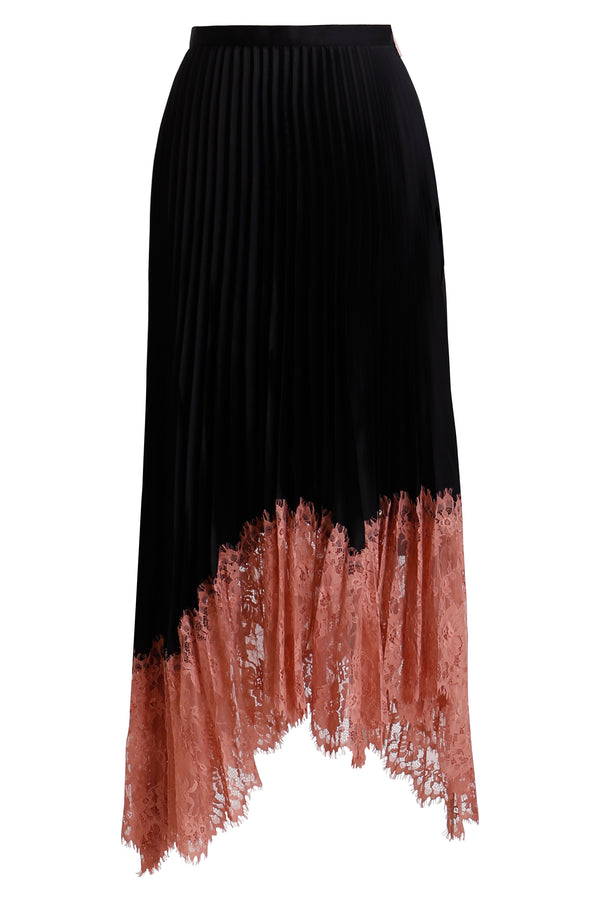 Ginger and Smart amalgamate lace silk pleated skirt