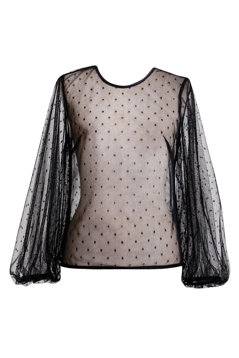 GINGER AND SMART SPOTTED TULLE ANALOGY TOP