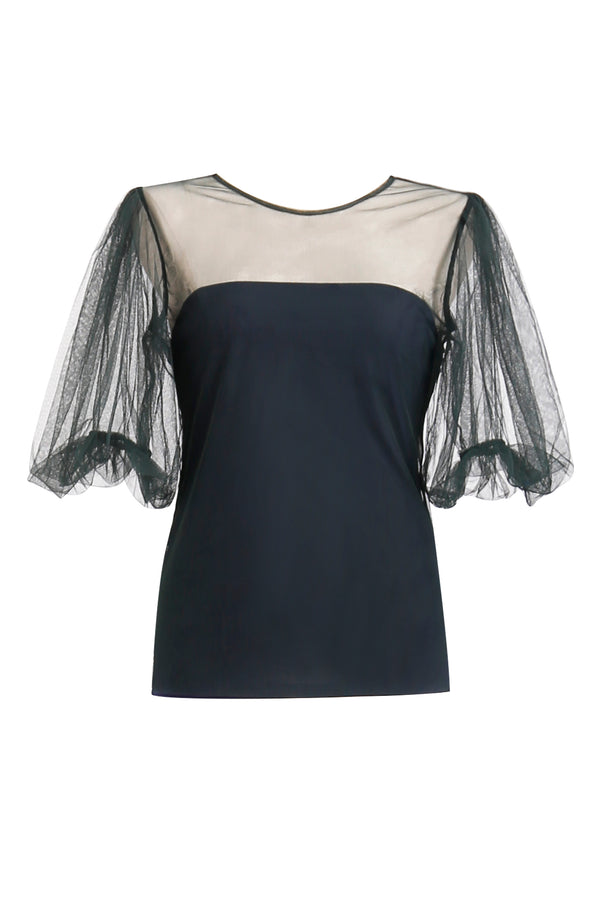 Ginger and Smart bubble sleeve tulle mesh blouse top