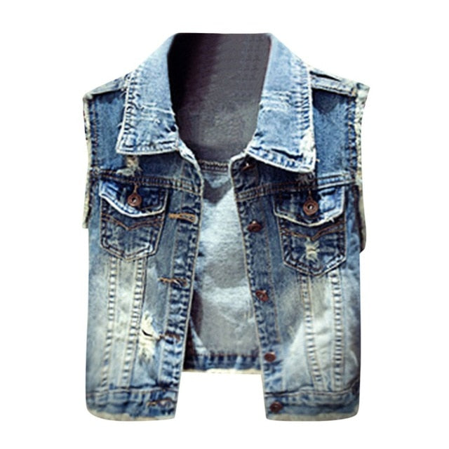 2019 Women Ripped Denim Jean Vest