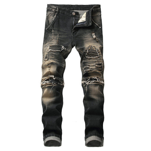 High Quality Casual Men Denim Wash Black Jeans