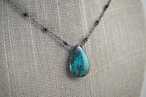 Chrysocolla with Pyrite Necklace, Black Sterling Silver