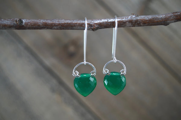 Green Onyx Iris Earrings, Sterling Silver