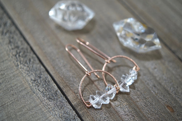 Herkimer Diamond Dinah Earrings, 14kt Rose Gold Fill