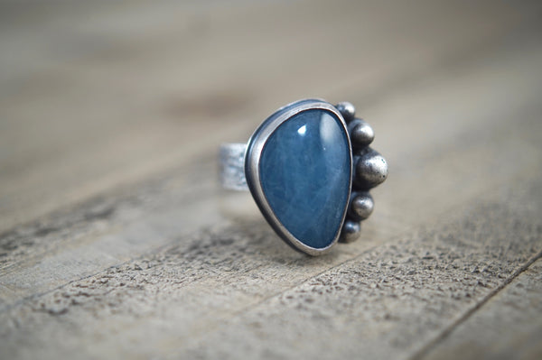 Aquamarine Ring, Size 9, Sterling Silver
