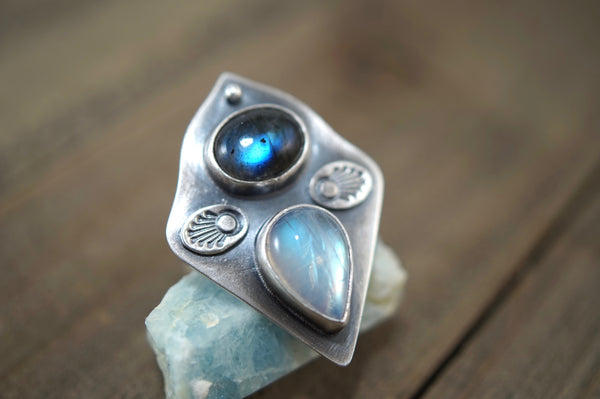 Labradorite and Rainbow Moonstone Angel Ring, Size 8, Sterling Silver