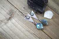 Labradorite Dangle Earrings, Sterling Silver