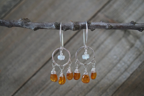 Orange Kyanite and Rainbow Moonstone Earrings, Sterling Silver