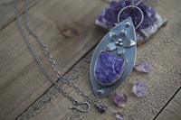 Charoite and Amethyst Flower Pendant, Sterling Silver