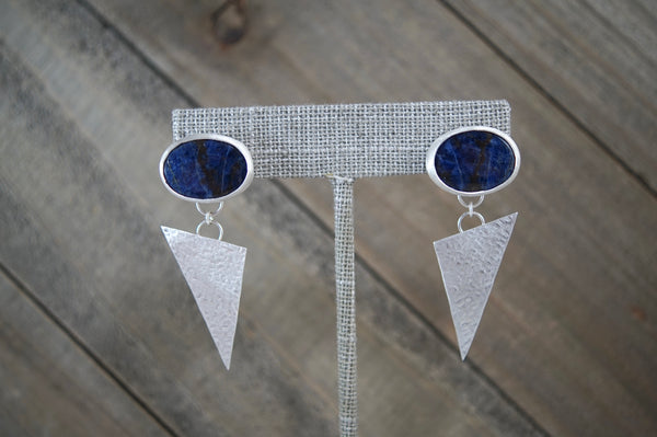 Sodalite Geometric Dangle Earrings, Sterling Silver