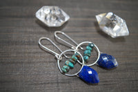Lapis Lazuli and Turquoise Jyn Earrings, Sterling Silver