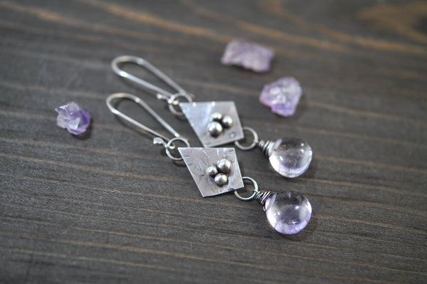 Moss Amethyst Geometric Earrings, Sterling Silver