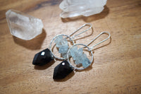 Black Spinel and Aquamarine Jyn Earrings, Sterling Silver