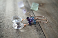 Brilliant Rock Crystal and Fluorite Earrings, 14kt Rose Gold Fill