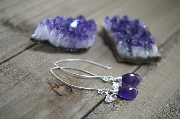 Amethyst and Herkimer Diamond Quartz Earrings, Sterling Silver