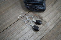 Black Moonstone Earrings, Sterling Silver