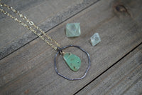 Chrysoprase Organic Hoop Necklace, Mixed Metal